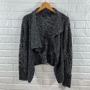 360 Cashmere Gray Asymmetrical Waterfall Sweater